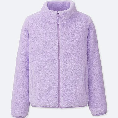 GIRLS FLUFFY YARN FLEECE LONG SLEEVE JACKET, LIGHT PURPLE, medium