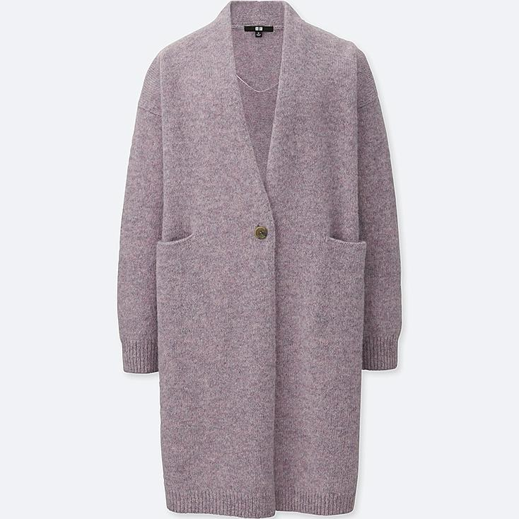 WOMEN MELANGE WOOL COAT, LIGHT PURPLE, large