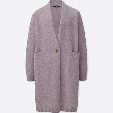 WOMEN MELANGE WOOL COAT, LIGHT PURPLE, medium