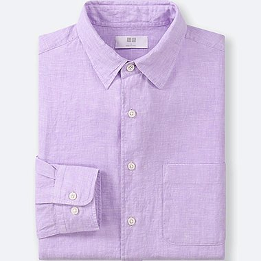 MEN PREMIUM LINEN LONG-SLEEVE SHIRT, LIGHT PURPLE, medium