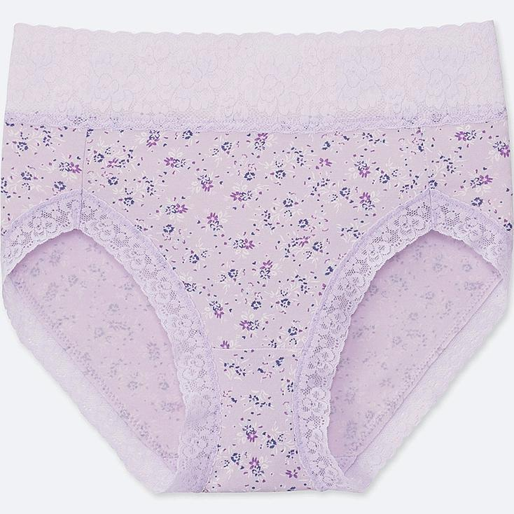 WOMEN FLOWER-PRINT HIGH-RISE BRIEFS, LIGHT PURPLE, large