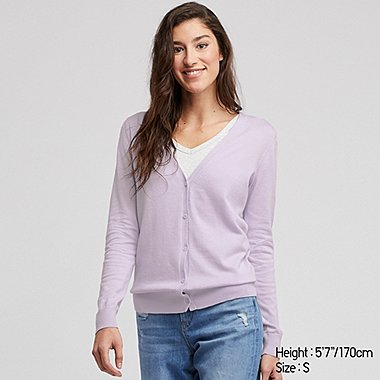 WOMEN UV CUT SUPIMA® COTTON V-NECK CARDIGAN, LIGHT PURPLE, medium