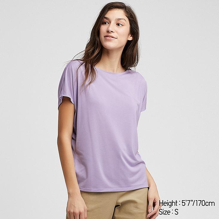 WOMEN DRAPE CREW NECK SHORT-SLEEVE T-SHIRT, LIGHT PURPLE, large