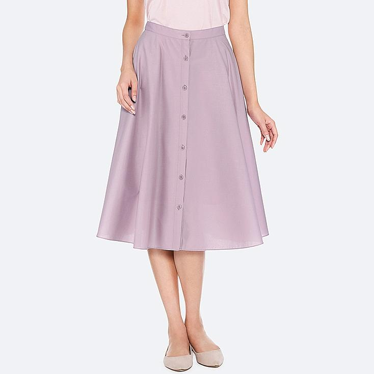 WOMEN FRONT BUTTON CIRCULAR SKIRT, LIGHT PURPLE, large