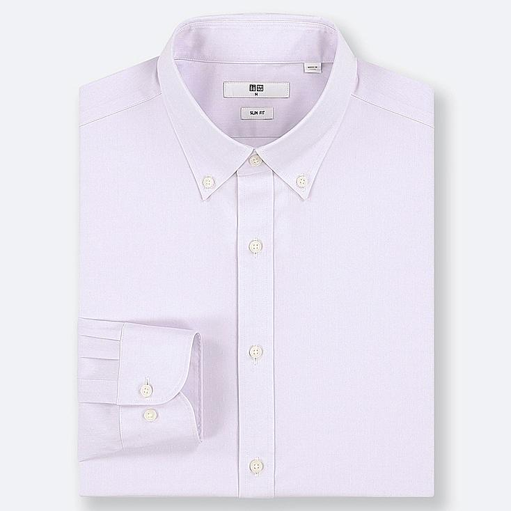 MEN EASY CARE DOBBY STRETCH SLIM-FIT LONG-SLEEVE SHIRT, LIGHT PURPLE, large