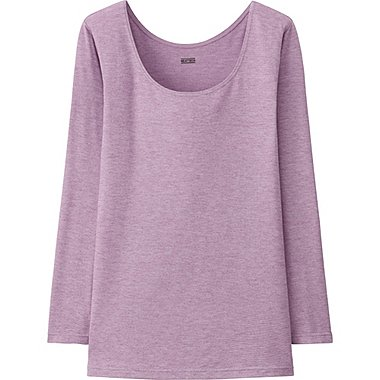 WOMEN HEATTECH SCOOP NECK T-SHIRT, PURPLE, medium