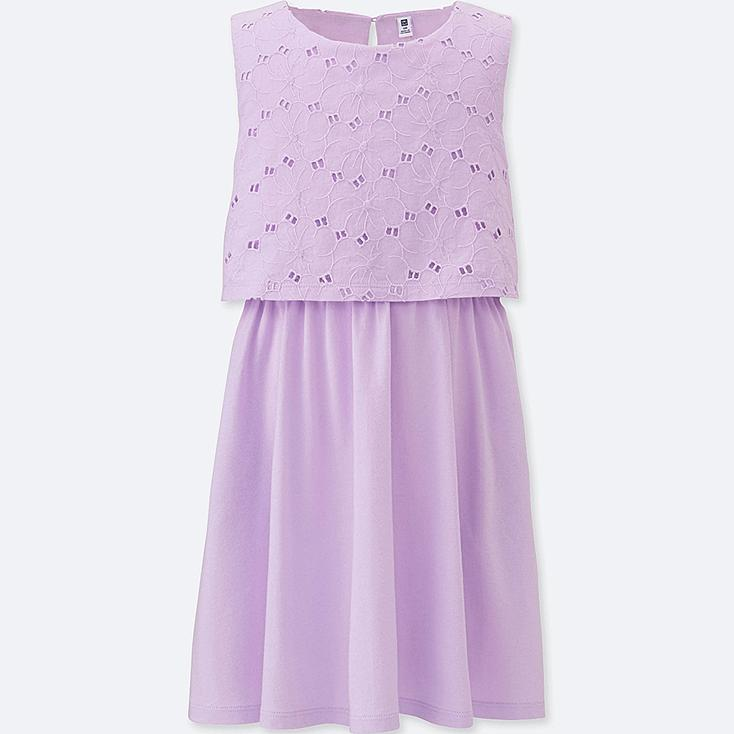 GIRLS LACE SLEEVELESS DRESS, PURPLE, large