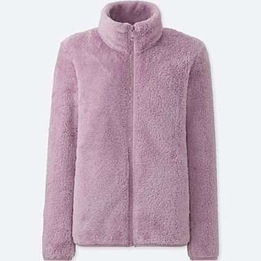 WOMEN FLUFFY YARN FLEECE FULL-ZIP JACKET, PURPLE, medium