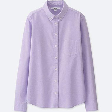 WOMEN OXFORD LONG-SLEEVE SHIRT (ONLINE EXCLUSIVE), PURPLE, medium