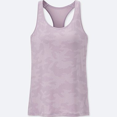 WOMEN AIRism PATTERNED RACERBACK BRA SLEEVELESS TOP, PURPLE, medium