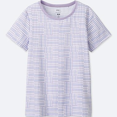 WOMEN SPRZ NY DRY-EX PRINTED SHORT-SLEEVE T-SHIRT (FRANCOIS MORELLET), PURPLE, medium