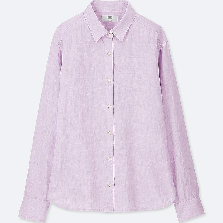 WOMEN PREMIUM LINEN LONG-SLEEVE SHIRT, PURPLE, large