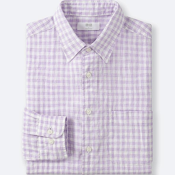 MEN PREMIUM LINEN CHECKED LONG-SLEEVE SHIRT, PURPLE, large