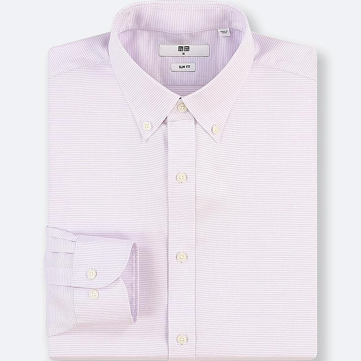 MEN EASY CARE DOBBY STRETCH SLIM-FIT LONG-SLEEVE SHIRT, PURPLE, large