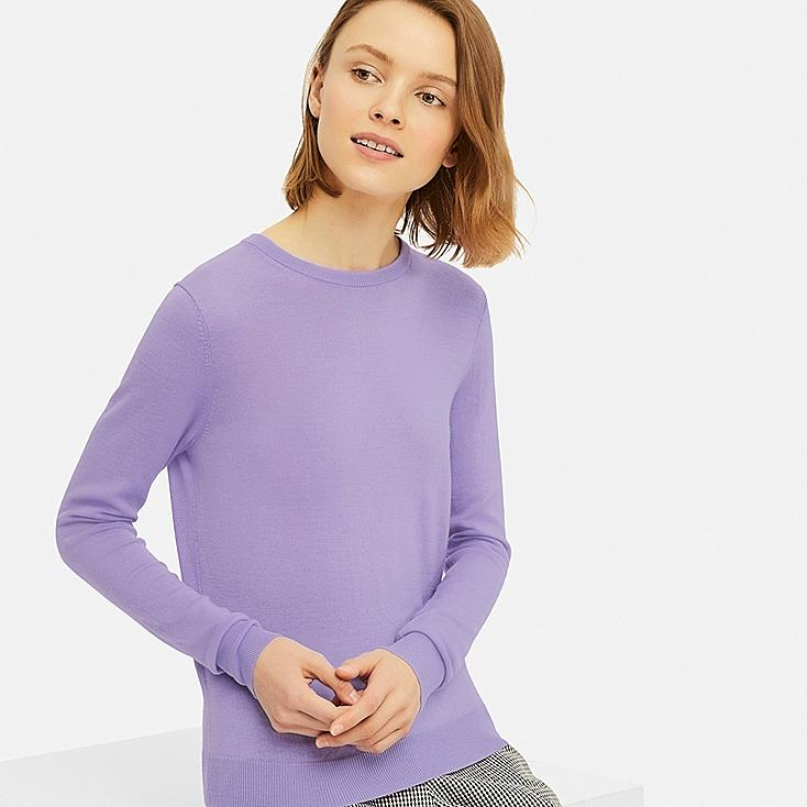 WOMEN EXTRA FINE MERINO CREW NECK SWEATER, PURPLE, large