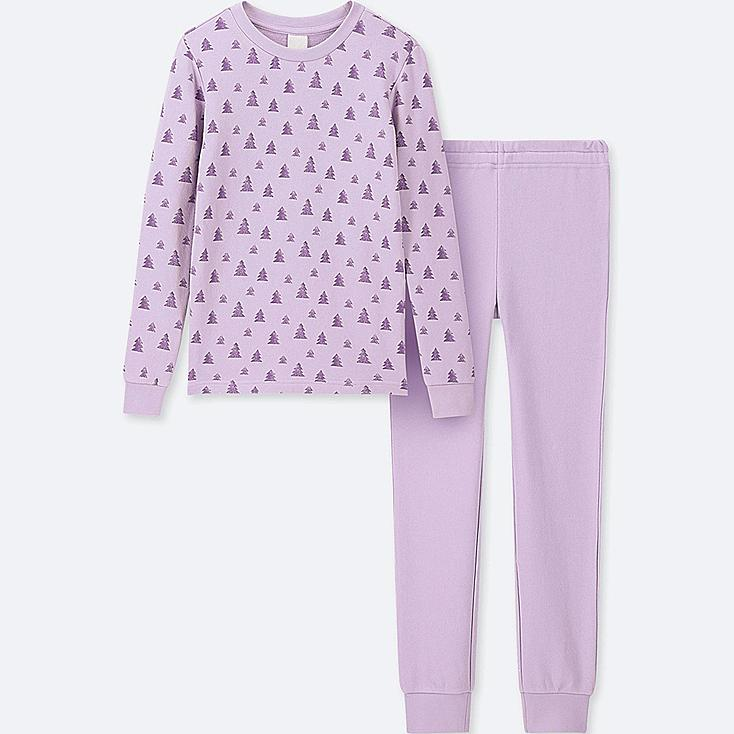 GIRLS ULTRA STRETCH LONG-SLEEVE SWEAT SET, PURPLE, large