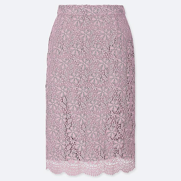 WOMEN LACE SKIRT, PURPLE, large