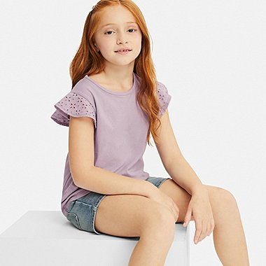 GIRLS LACE FRILL CREW NECK SHORT-SLEEVE T-SHIRT, PURPLE, medium