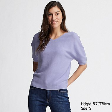 WOMEN 3D COTTON DOLMAN HALF SLEEVE SWEATER, PURPLE, medium