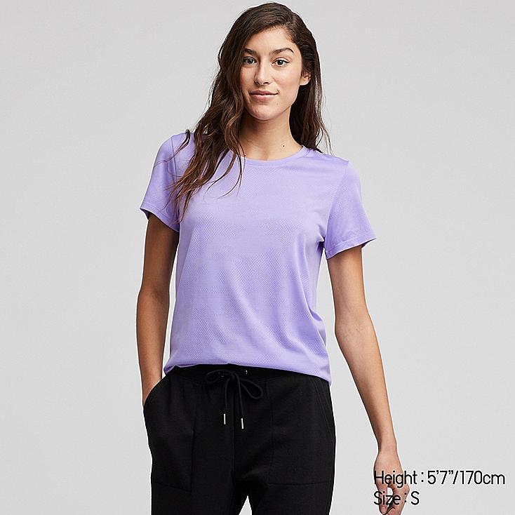 WOMEN DRY-EX CREW NECK SHORT-SLEEVE T-SHIRT, PURPLE, large
