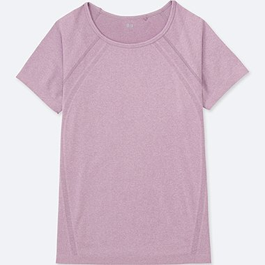 WOMEN Dry Seamless Crew Neck Short Sleeve T-Shirt