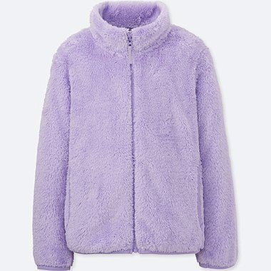 GIRLS FLUFFY YARN FLEECE LONG SLEEVE JACKET