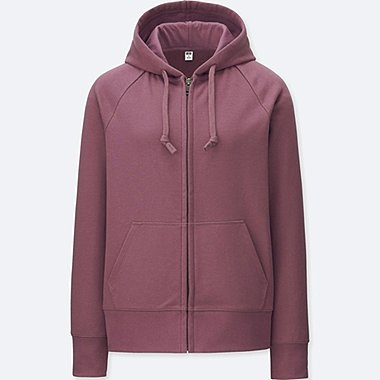 WOMEN SWEAT LONG-SLEEVE FULL-ZIP HOODIE, PURPLE, medium