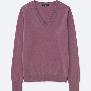 WOMEN CASHMERE V NECK SWEATER