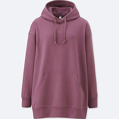 WOMEN SWEAT LONG-SLEEVE HOODIE, PURPLE, medium