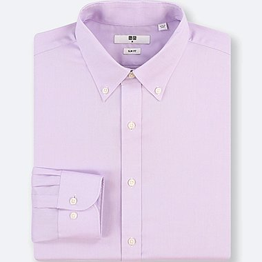 MEN EASY CARE OXFORD STRETCH SLIM-FIT LONG-SLEEVE SHIRT, PURPLE, medium