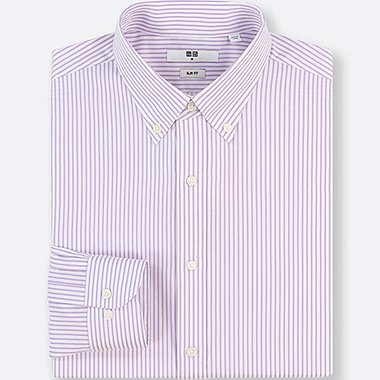 MEN EASY CARE STRIPED STRETCH SLIM-FIT LONG-SLEEVE SHIRT, PURPLE, medium