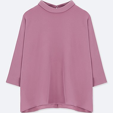 WOMEN DRAPE MOCK NECK 3/4 SLEEVE BLOUSE