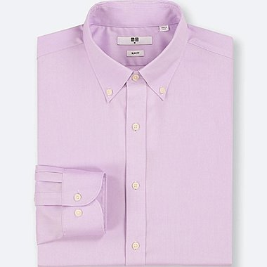 MEN EASY CARE OXFORD SLIM-FIT LONG-SLEEVE SHIRT, PURPLE, medium