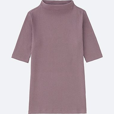WOMEN RIBBED HIGH-NECK HALF-SLEEVE T-SHIRT, PURPLE, medium