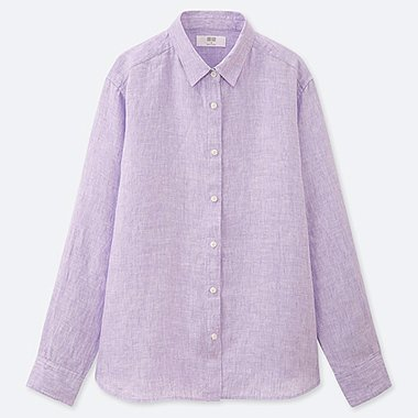 WOMEN PREMIUM LINEN LONG-SLEEVE SHIRT, PURPLE, medium
