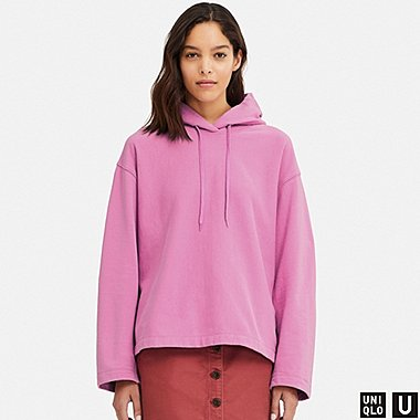 WOMEN U LONG-SLEEVE HOODED SWEATSHIRT, PURPLE, medium