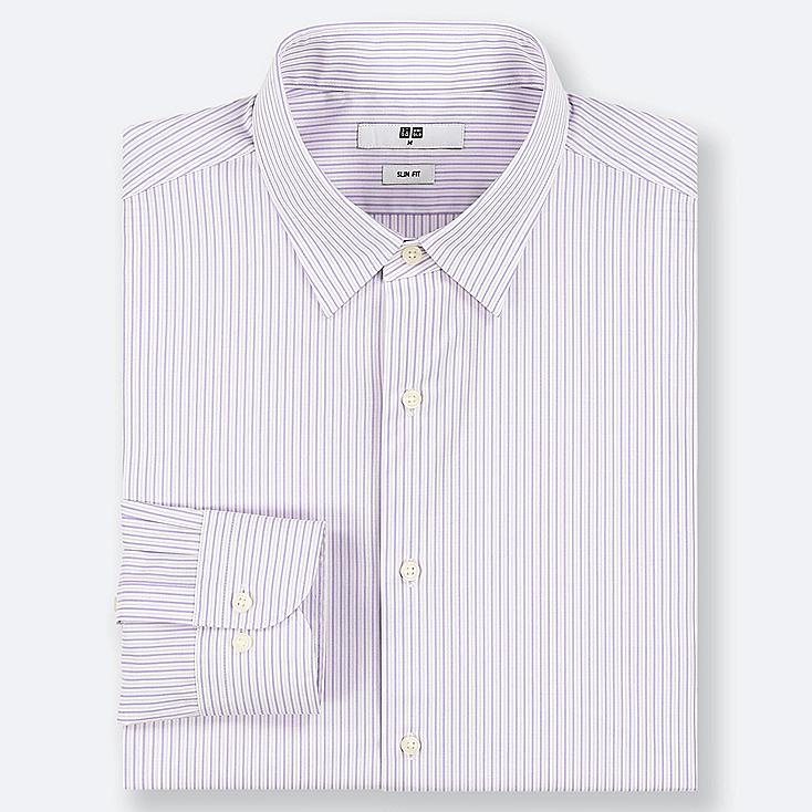 MEN EASY CARE STRIPED STRETCH SLIM-FIT LONG-SLEEVE SHIRT, PURPLE, large