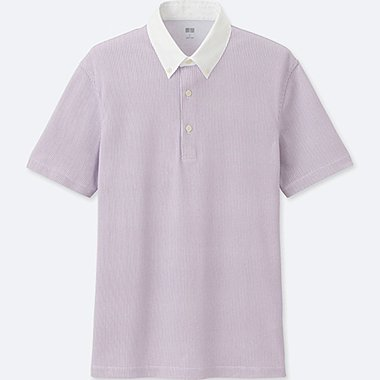 MEN AIRism SHIRT COLLAR POLO SHIRT, PURPLE, medium