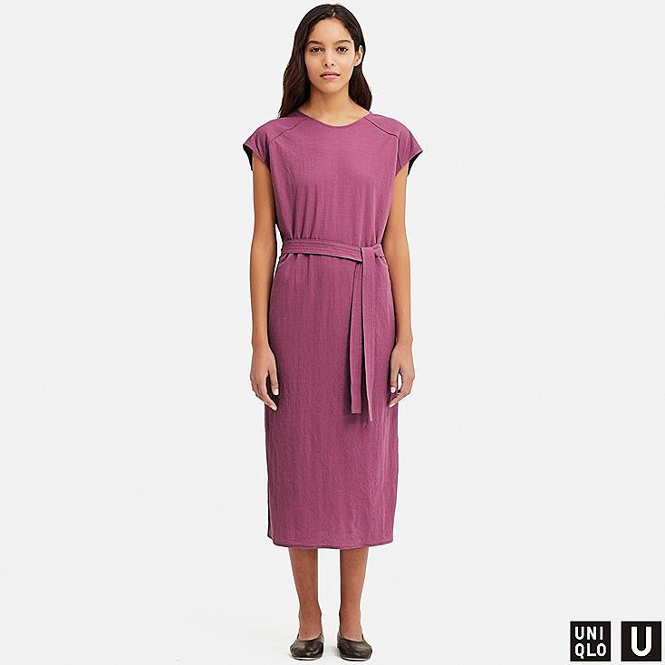 WOMEN U TUBE SHORT-SLEEVE DRESS, PURPLE, large