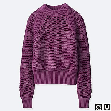WOMEN U MESH OVERSIZED SWEATER, PURPLE, medium