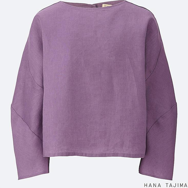 WOMEN LINEN CROPPED LONG-SLEEVE BLOUSE, PURPLE, large