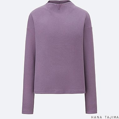 WOMEN RIBBED MOCK NECK LONG-SLEEVE T-SHIRT, PURPLE, medium
