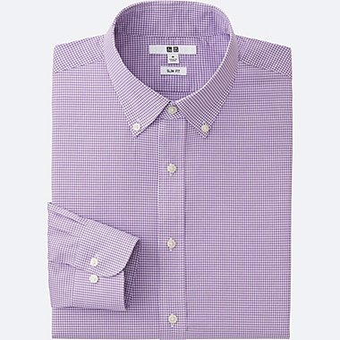 MEN EASY CARE SLIM-FIT CHECKED LONG SLEEVE SHIRT, PURPLE, medium