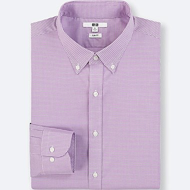 MEN EASY CARE CHECKED SLIM-FIT LONG-SLEEVE SHIRT, PURPLE, medium