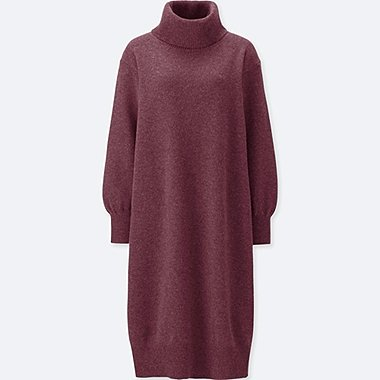 WOMEN PREMIUM LAMBSWOOL TURTLENECK LONG-SLEEVE DRESS, PURPLE, medium