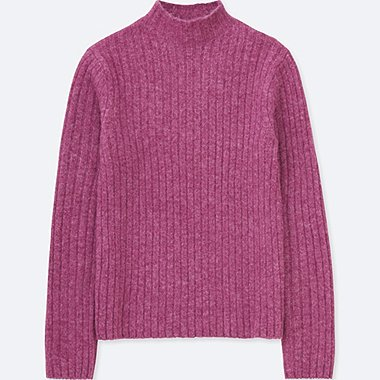 WOMEN WIDE RIBBED MOCK NECK SWEATER