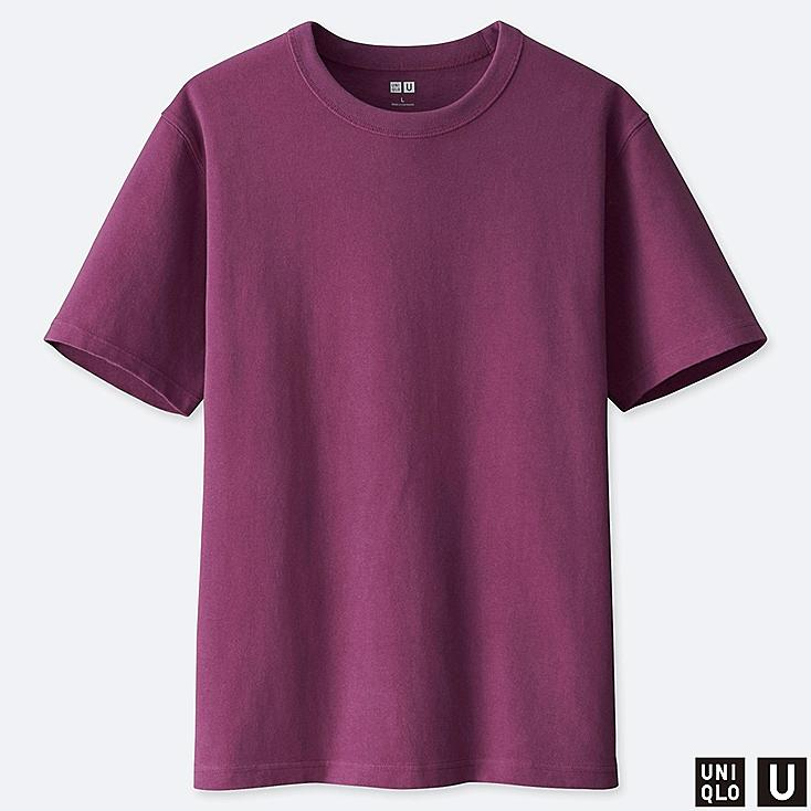MEN U CREW NECK SHORT-SLEEVE T-SHIRT, PURPLE, large