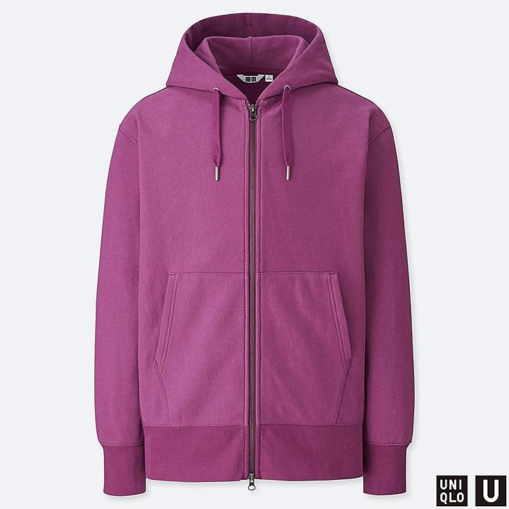 MEN U SWEAT LONG-SLEEVE FULL-ZIP HOODIE, PURPLE, large