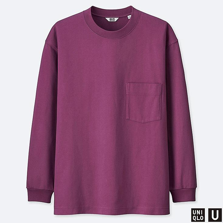 MEN U CREW NECK LONG-SLEEVE T-SHIRT, PURPLE, large