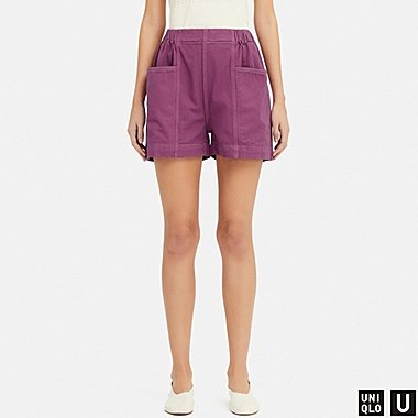 WOMEN U DENIM EASY SHORTS, PURPLE, medium